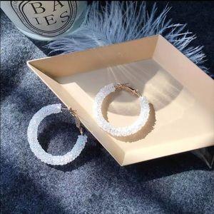 Coming soon crystallized hoop earrings